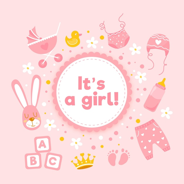 Baby shower girl background with toys Free Vector