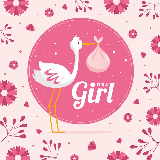 Baby shower for girl background Free Vector