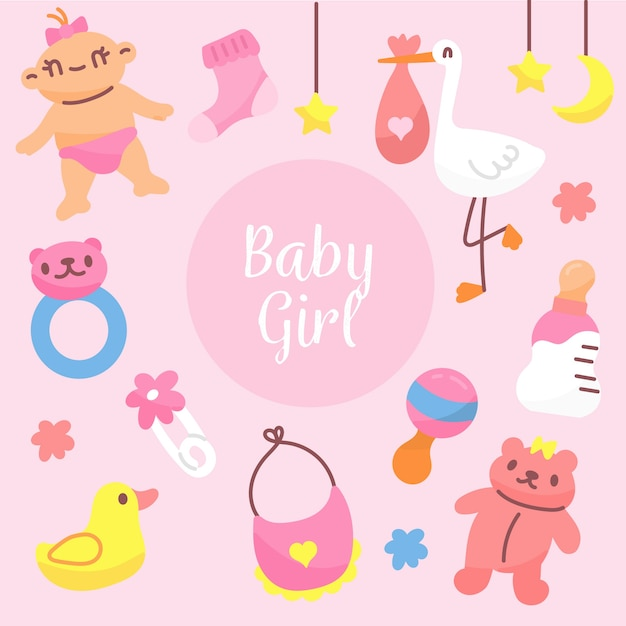 Baby shower girl background Free Vector