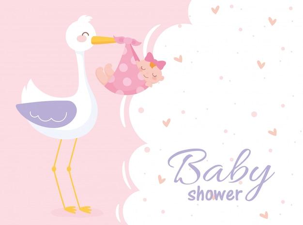 Baby shower, girl in blanket with stork welcome newborn celebration card Premium Vector