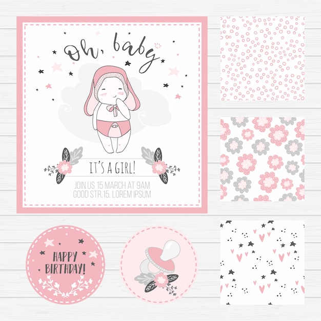 Baby shower girl card and seamless patterns Premium Vector