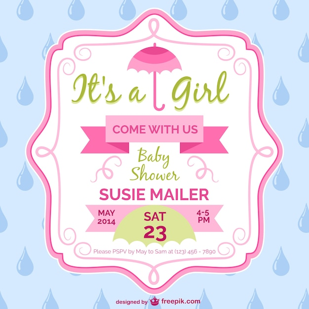 Baby Shower Girl Card Template Design Vector Free Download - Card template free: invitation card template for baby shower