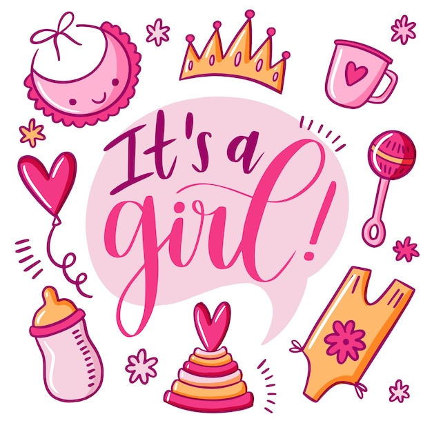 Baby shower for girl in pink Premium Vector