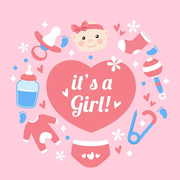 Baby shower (girl) with heart Free Vector