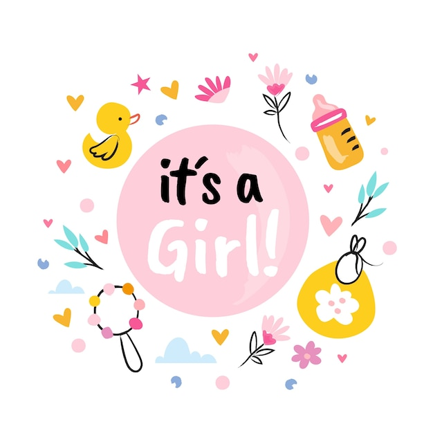 Baby shower (girl) with toys and flowers Free Vector