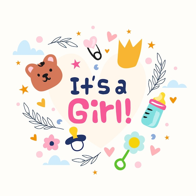 Baby shower (girl) with toys Free Vector