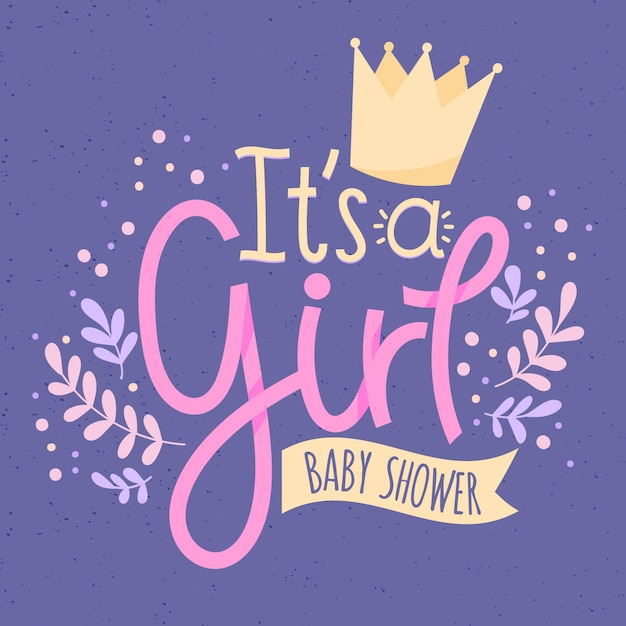 Baby shower for girl Free Vector