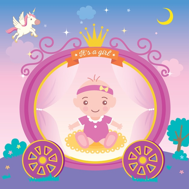 Baby shower greeting card for new born girls with princess cart and crown on night backgro Premium Vector