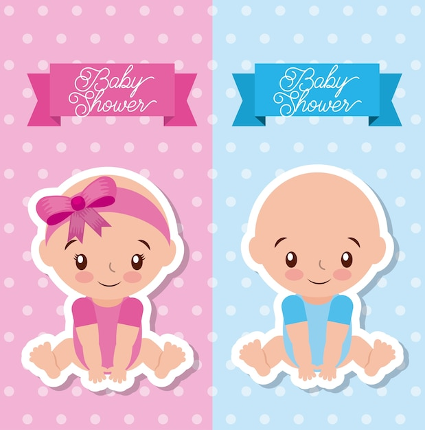 Baby Shower Greeting Card With Boy And Girl Vector Premium Download