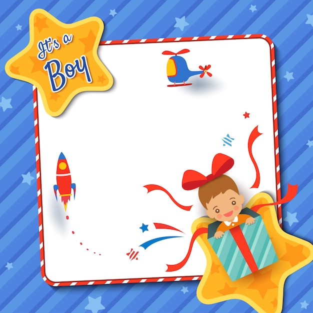 Baby shower greeting card with a boy in present box on star frame blue background. Premium Vector