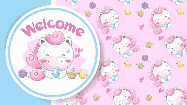 Baby shower greeting card with cute cartoon unicorn girl Premium Vector
