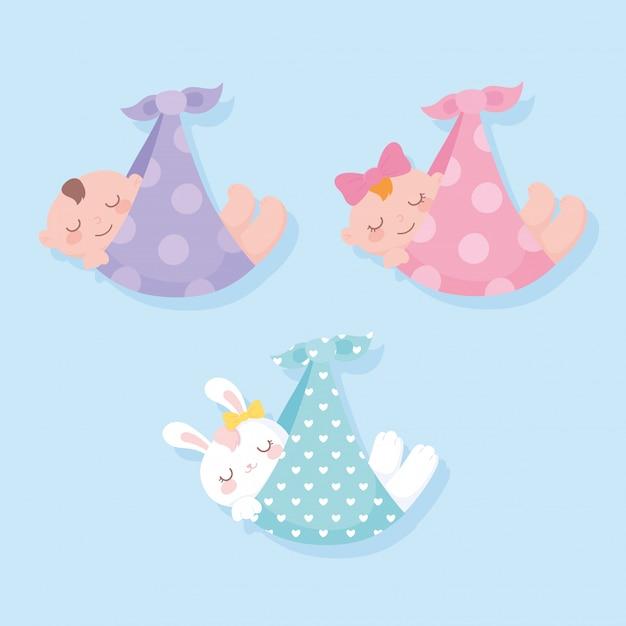 Детский душ, подвешивание младенцев и кролика на одеялах Premium векторы