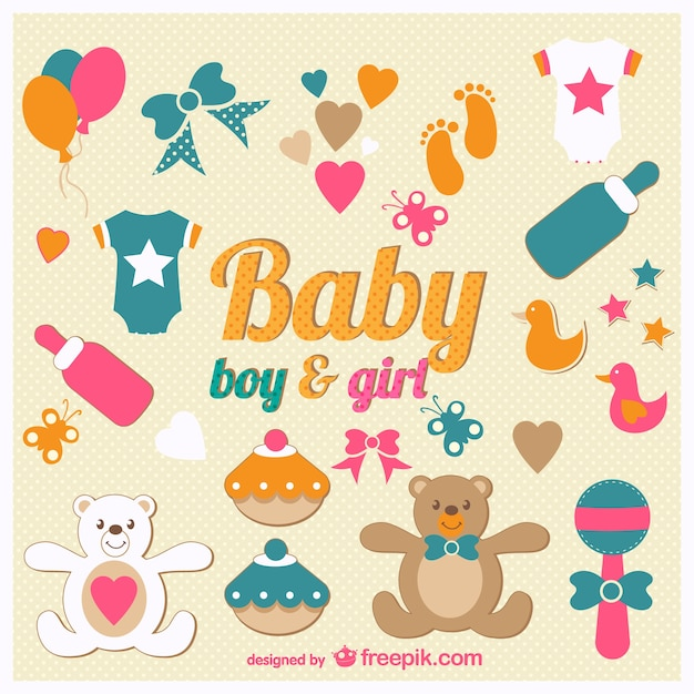 Free Baby Shower Vector Images ~ Baby shower icons vector free download
