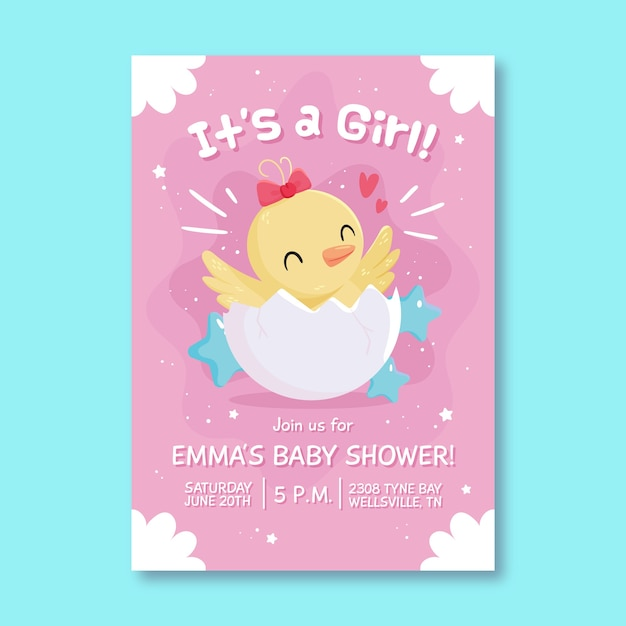 Baby shower illustrated invitation for baby girl Free Vector