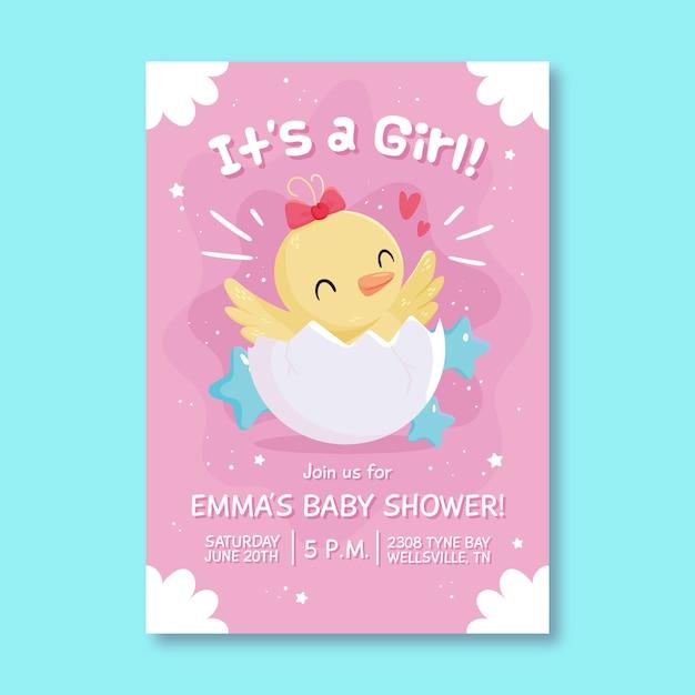 女の赤ちゃんのためのベビーシャワーイラスト招待 無料ベクター
