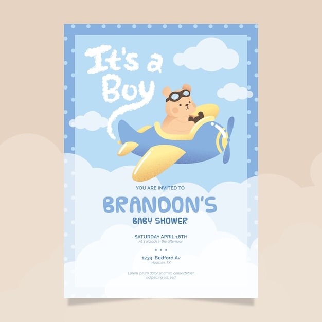 Baby shower illustrated invitation template for baby boy Free Vector