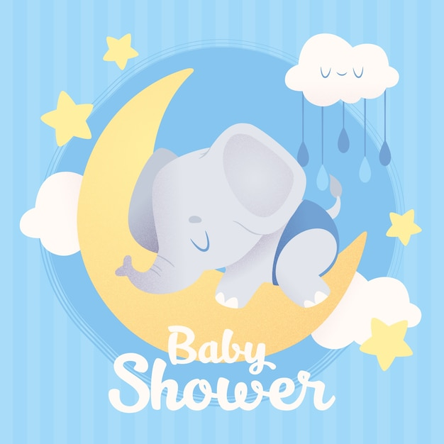 Baby shower illustration with elephant Free Vector