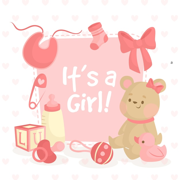 Baby shower illustration with teddy bear for girl Free Vector