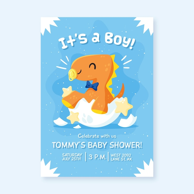 Baby shower invitation for baby boy Free Vector