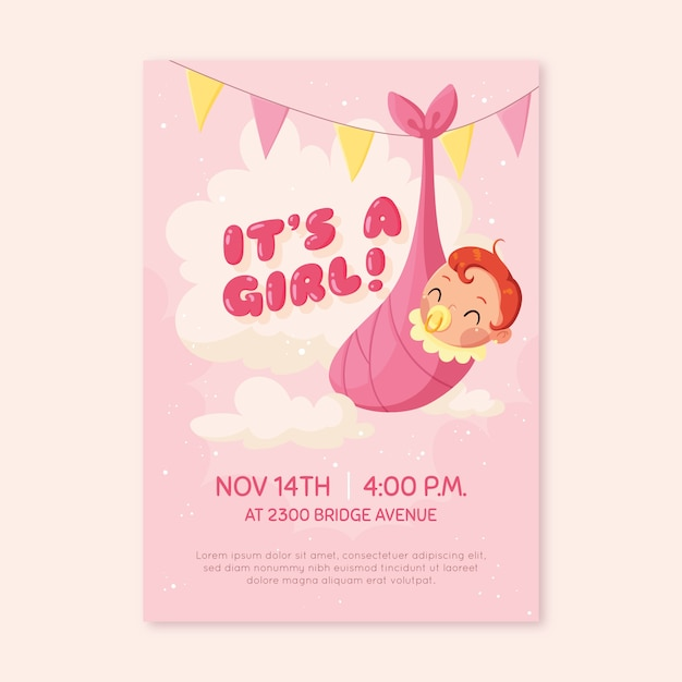 Baby shower invitation for baby girl Free Vector
