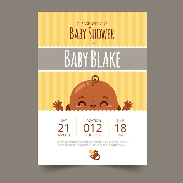 Baby shower invitation boy illustration Free Vector
