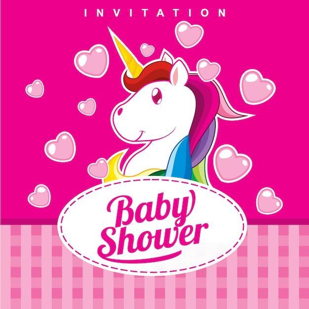 Baby Shower Invitation Card Design Girl Version Vector Premium