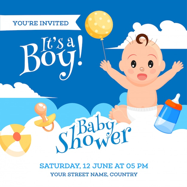 Baby Shower Invitation Card Design With Cute Baby Boy