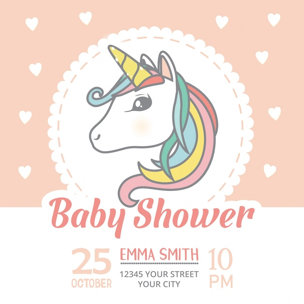 Baby shower invitation card template with cute unicorn character baby shower invitation card template with cute unicorn character premium vector filmwisefo