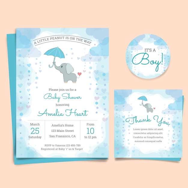 Baby shower invitation card with elephant Vector – Free Baby Shower Invitation Cards