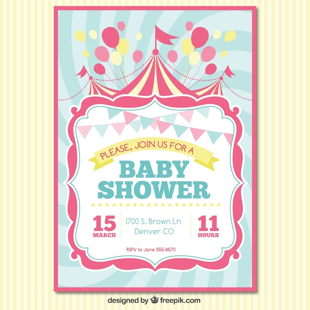 Baby shower invitation card vector free download baby shower invitation card free vector stopboris Image collections
