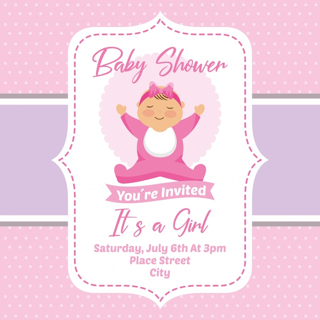 Baby Shower Invitation Card Vector Premium Download