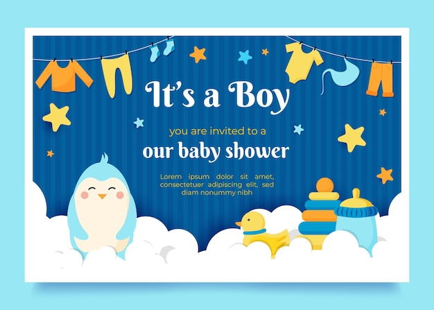 Baby shower invitation concept Premium Vector