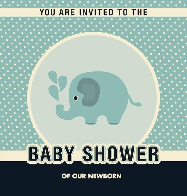 Disegno bambino doccia invito Vettore gratuito