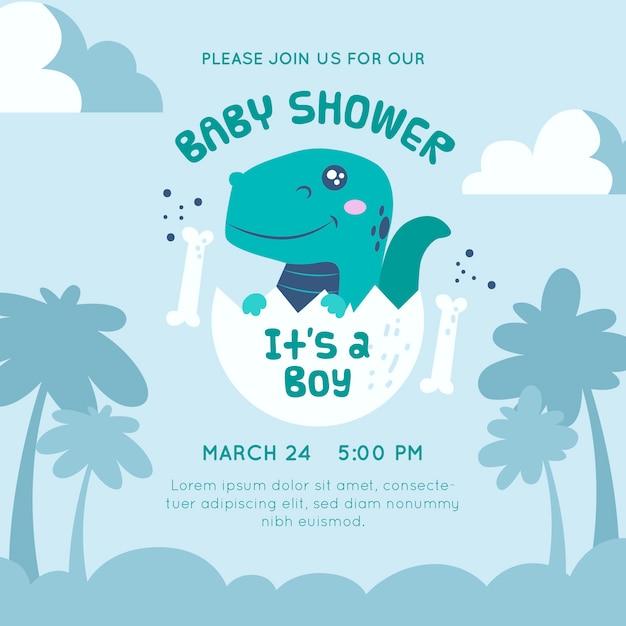 Baby shower invitation dinosaur design Free Vector