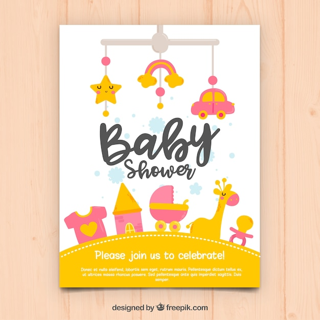 Baby shower invitation in hand drawn\ style