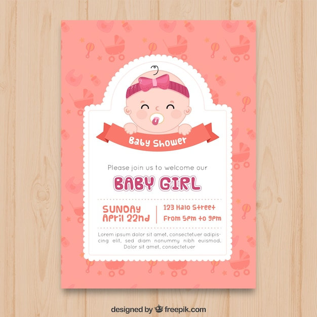 Baby shower invitation in hand drawn style vector free download baby shower invitation in hand drawn style free vector filmwisefo Images