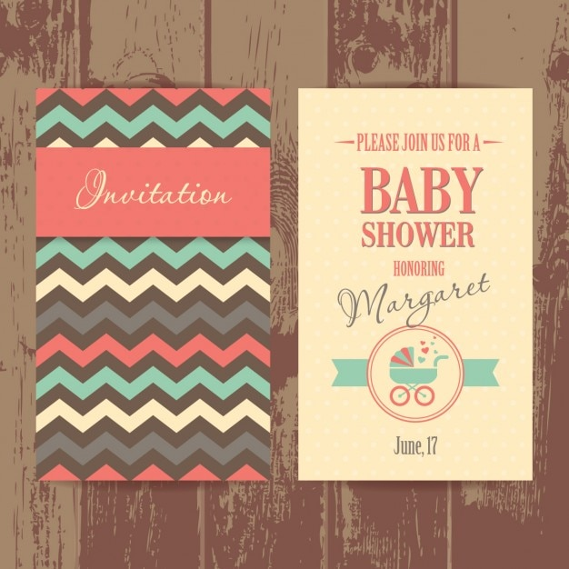 Baby shower invitation in vintage style
