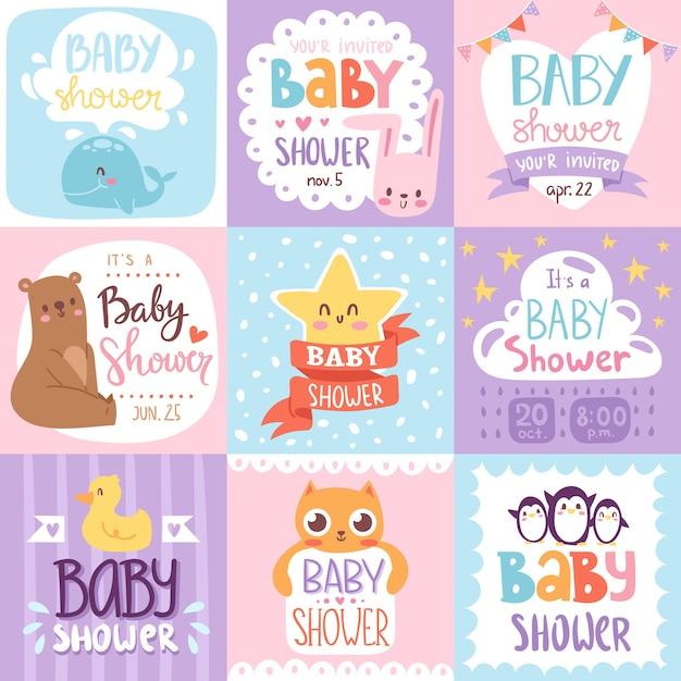 Детский душ приглашение набор карт печать Premium векторы