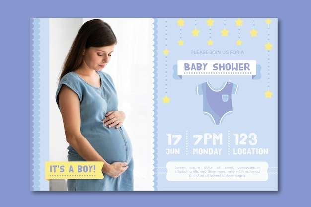 Baby shower invitation template for boy theme Free Vector