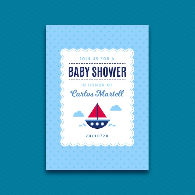 Baby shower invitation template for boy with boat Free Vector