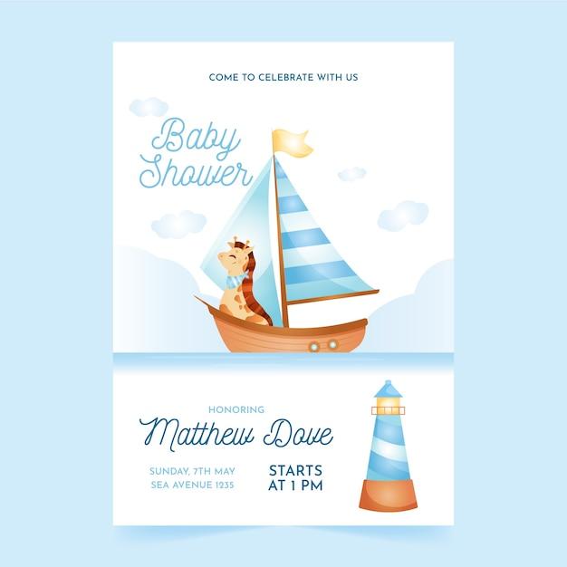 Baby shower invitation template for boy Premium Vector