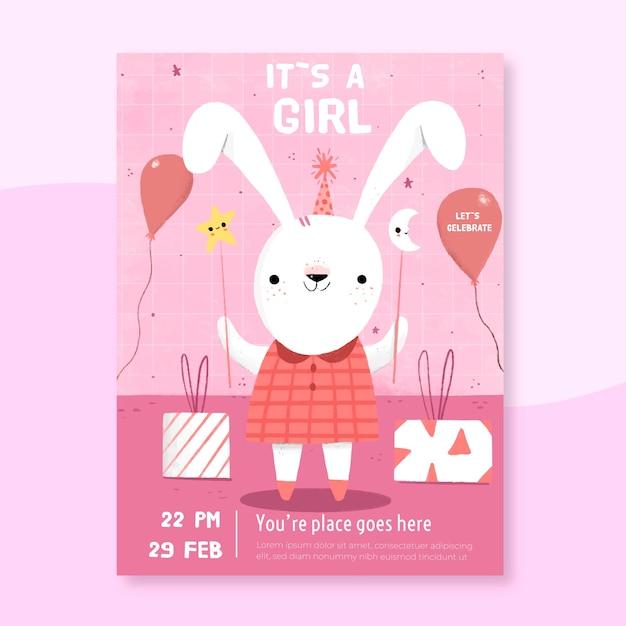 Шаблон приглашения детского душа для девочки Бесплатные векторы