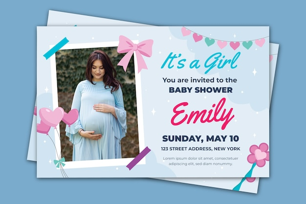 Baby shower invitation template for girl theme Free Vector