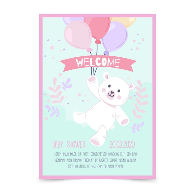 Baby shower invitation template for girl Free Vector