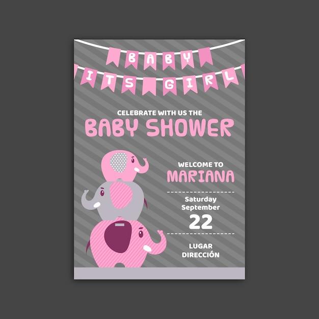 Modello di invito baby shower per ragazza Vettore gratuito