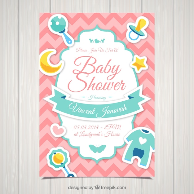 Baby Shower Invitation Template In Flat Design Vector Free Download