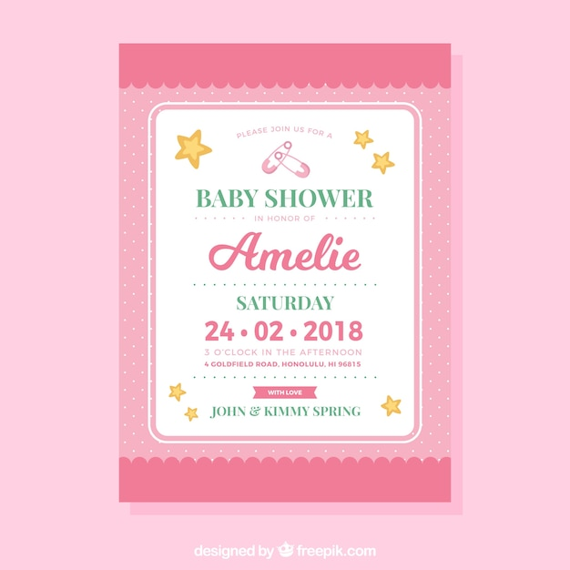 Baby Shower Invitation Template In Flat Style Vector | Free Download