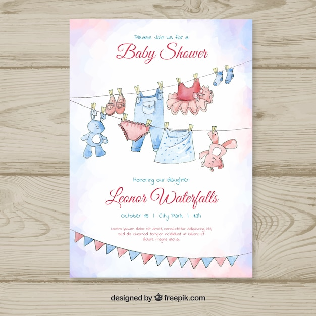 Baby Shower Invitation Template In Hand Drawn Style  Baby Shower Invitation Templates