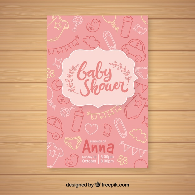 Baby shower invitation template in hand drawn\ style