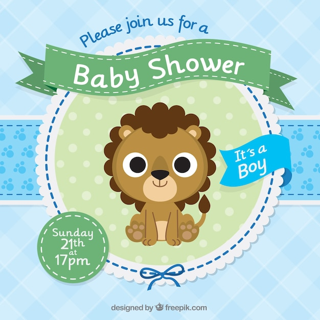 Baby Shower Invitation Template With A Cute Lion Vector | Free